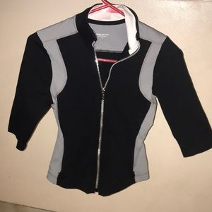 Gray and black with white collar Bebe zipper top